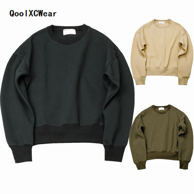 QoolXCWear 2018 new KANYE WEST FOG SEASON Sweatshirts simple solid men's Hoodies oversize drooping shoulders men's tops