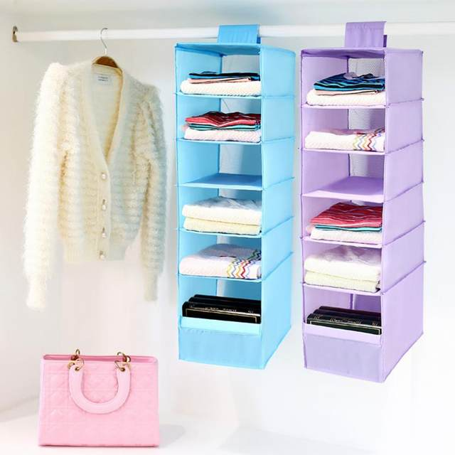 New Hanging Clothes 9 Section Shirt Storage Organiser Shelf Cabinet  Wardrobe Closet Hanger