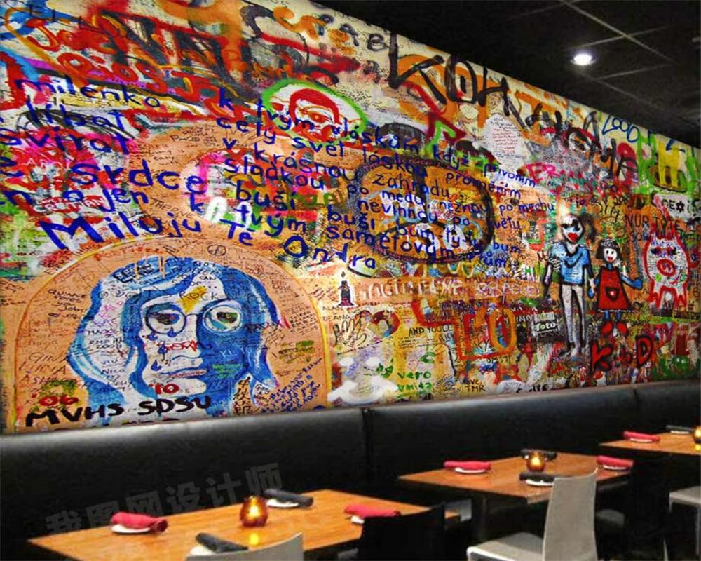 7 42 46 De Réduction Beibehang Peinture Murale Graffiti Europe Et Les états Unis Rétro Peinture Murale Peintures Murales Tv Canapé Fond Mur 3d