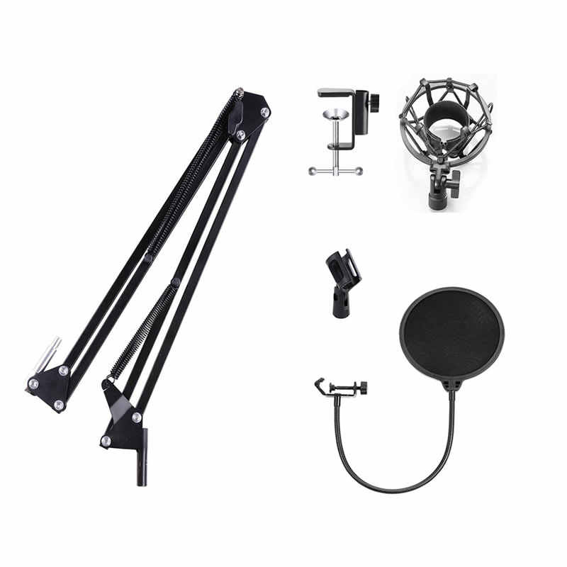 Microphone Suspension Boom Scissor Arm Stand with Mic Clip Holder & Table Mounting Clamp Kit for Condenser Mic BM700 BM800 BM900