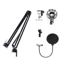 Microphone Suspension Boom Scissor Arm Stand with Mic Clip Holder & Table Mounting Clamp Kit for Condenser Mic BM700 BM800 BM900 цена