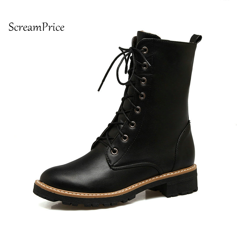 Woman P[atform Flat With Lace Up Mid Calf Boots Fashion Round Toe Dress Boots Short Plush Winter Boots Black Gray Yellow double buckle cross straps mid calf boots