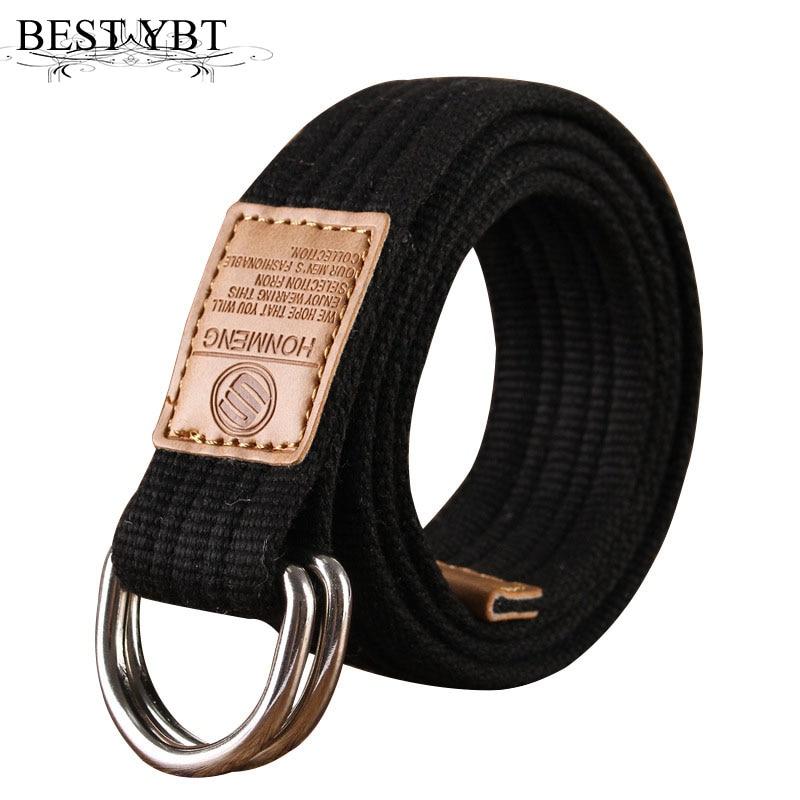 Best YBT Unisex canvas   belt   Double ring buckle military   belt   Army   belts   Men Women's casual Business cowboy pants   Belt