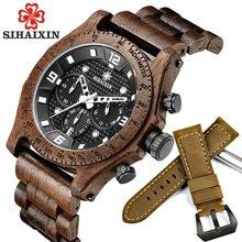 e7adb571fd8 Sihaixin mais novo relógio de madeira noz dos homens de madeira à prova d  água esporte quartzo japão movimento cronógrafo madeir.