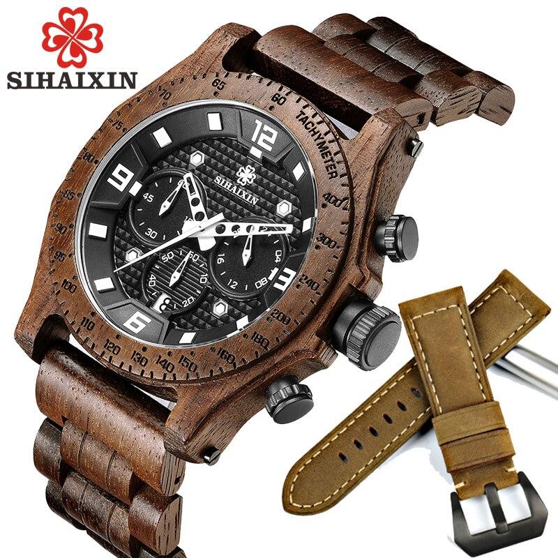 SIHAIXIN hommes montre élégante montre en bois de luxe chronographe étanche erkek kol saati accepter livraison directe en bois poignet homme horloge
