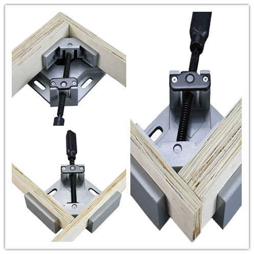 Single Handle 90 Degree Aluminum Angle Clip Woodworking Aquarium Frame Gussets Tool Swing Jaw Corner Clip ninth world new single handlealuminum 90 degree right angle clamp angle clamp woodworking frame clip right angle folder tool