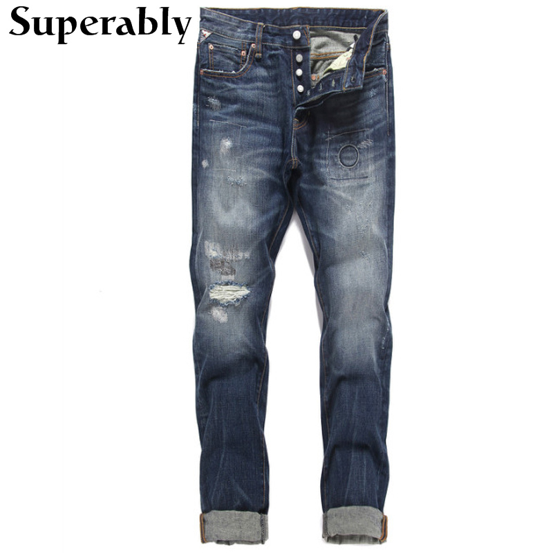 ФОТО High Quality Classic Denim Men Jeans Dark Blue Destroyed Ripped Jeans Men Superably Brand Buttons Stripe Jeans Casual Pants