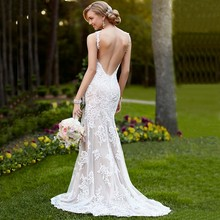 Stock Spaghetti Straps Mermaid Wedding Dress 2016 Lace Bridal Gown Sexy Backless Bride Dresses Plus Size