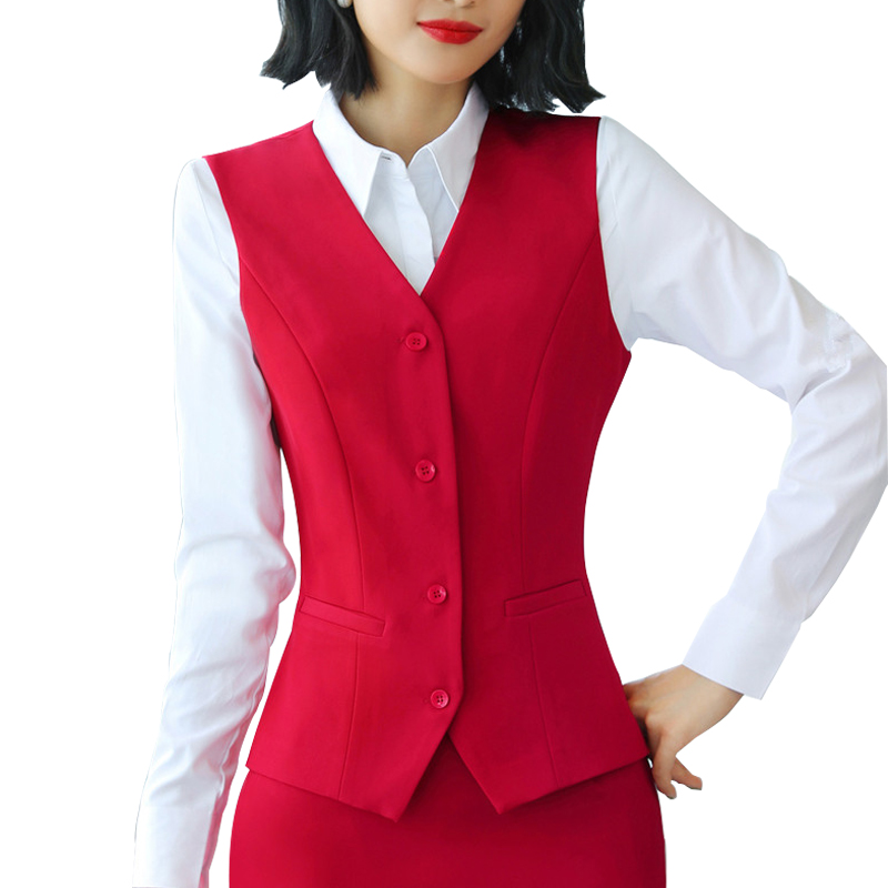 5XL Formal Career Black Red Women's Vest 2020 Summer Slim V-Neck Gilet Femme Waistcoat Female Sleeveless Jacket Work Wear Autumn