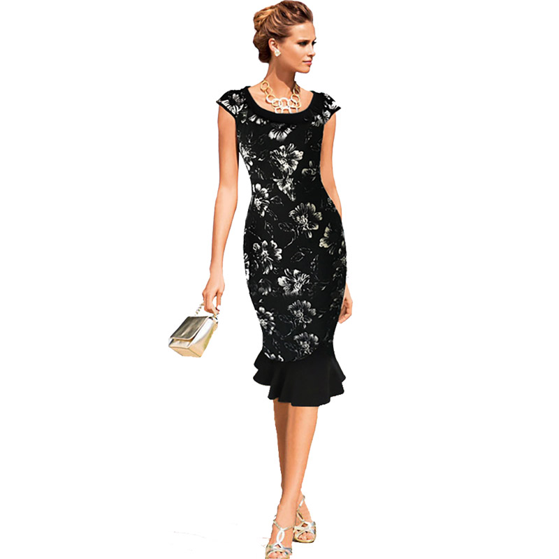 Floral dresses below knee for women for Below the knee dresses for wedding