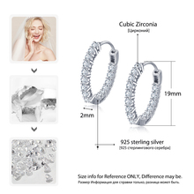 Trendy 925 Sterling Silver Hoop Earrings For Women Cubic Zirconia Stone New Fashion Jewelry Gift For Girl (JewelOra EA101739)