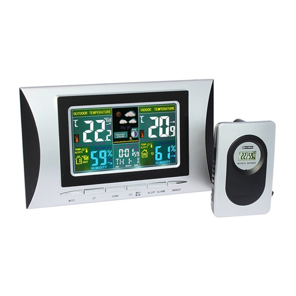 Weather Station Forecast Temperature Humidity Meter Sensor Tester Hygrometer Clock Alarm Indoor Outdoor Probe