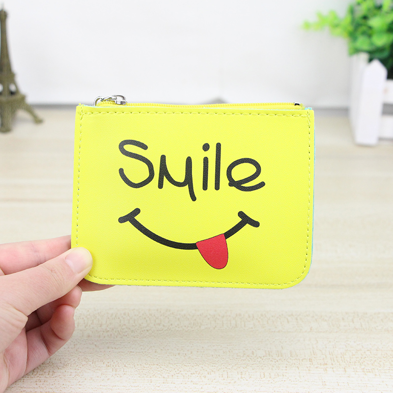 Katuner New Cartoon Smiley Cute Leather Girls Coin Purse Women Mini Wallet Card Holder Zipper Money Pouch Kids Coin Bag KB031 2017creative cute cartoon coin purse key chain for girls pu leather icecream cake popcorn kids zipper change wallet card holder