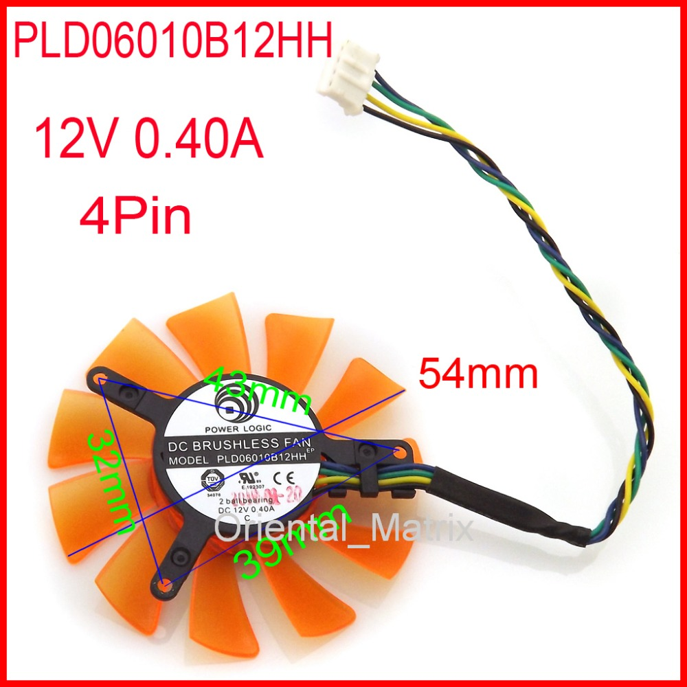 Free Shipping POWER LOGIC PLD06010B12HH 12V 0.40A 55mm 32x39x43mm For ZOTAC 6010 Graphics Card Cooling Fan 4Wire 4Pin
