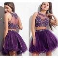 Por Encargo Vestido De Festa Curto Dos Piezas Púrpura Del Organza Del Applique Partida Encaje Vestido de Cóctel Corto Vestido de Fiesta