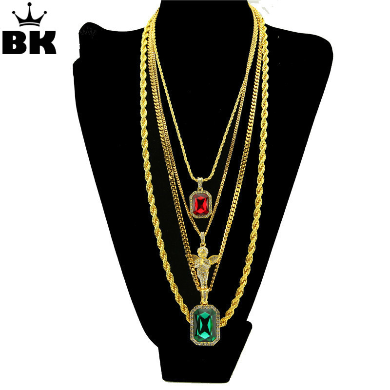 Micro Angle Faux Lab Rhinestone Pendant With Box Chain Rope Chain Hip Hop Necklace Set Men