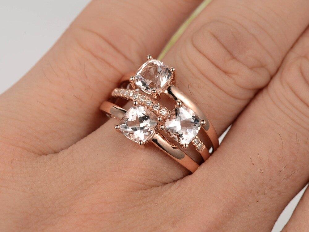 Fresh MYRAY Natural 3 Stone 5mm Cushion Cut Pink Morganite Stone Diamond  BI02