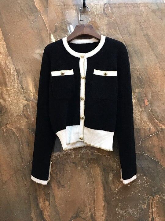cou 2018 Haut jupe Tricoté Rond À Tranchant Coloré Manches Demi Noir Suit1203 Longues SUqMpzV