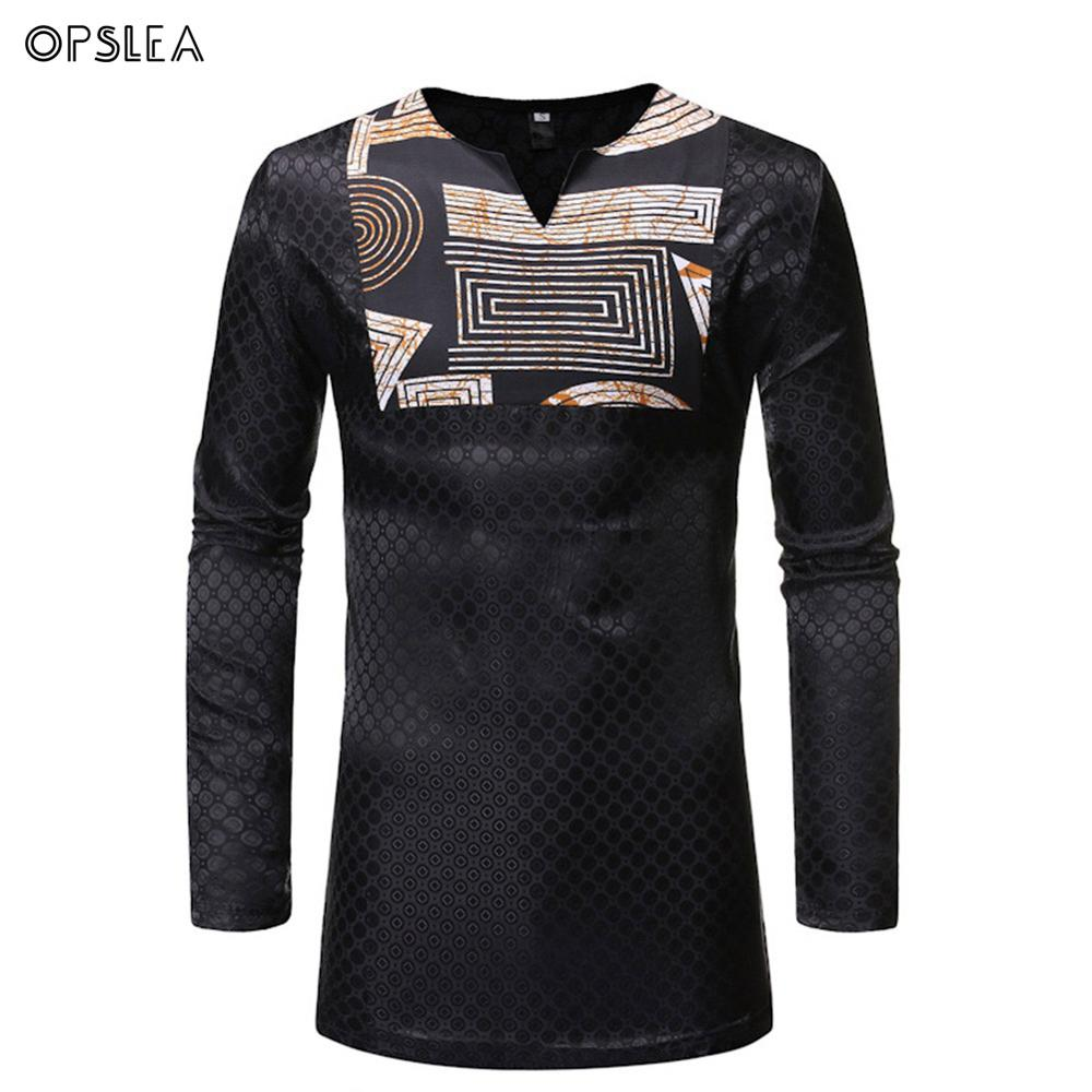 Opslea Dashiki African National Men Long Sleeve T Shirt Egyptian Element Print Patchwork Clothes Autumn Casual V-Neck T-Shirt