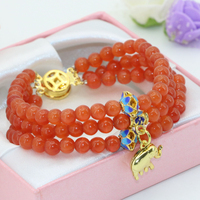 High quality gift new unique clasps 3rows 6mm orange cat eyes round beads multilayer bracelets for women jewelry 7.5inch B2778