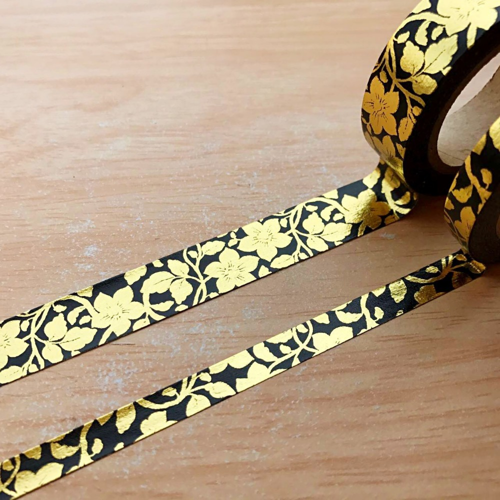 Foil Gold High Quality  Washi Paper  Tape 7.5mm*10m Or 15mm*10m/ Five Leafs Flower Masking Washi Paper  Tape