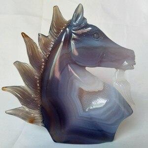 Image 5 - UNA pietra Naturale agata intaglio unicorno teschio di cristallo cristalli geode cluster creativo scultura decorazione della casa nobile e puro