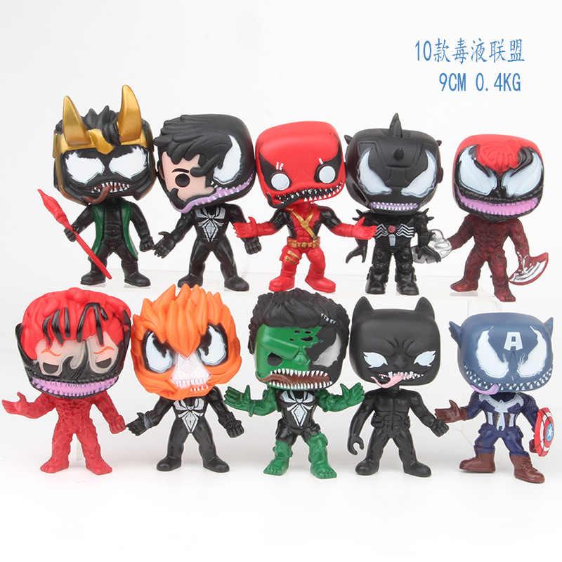 9 cm 10 pcs Venom Avengers Homem de Ferro Hulk Capitão Carnificina Deadpool Loki action figure brinquedos colecionadores presente de Natal da boneca nenhuma caixa
