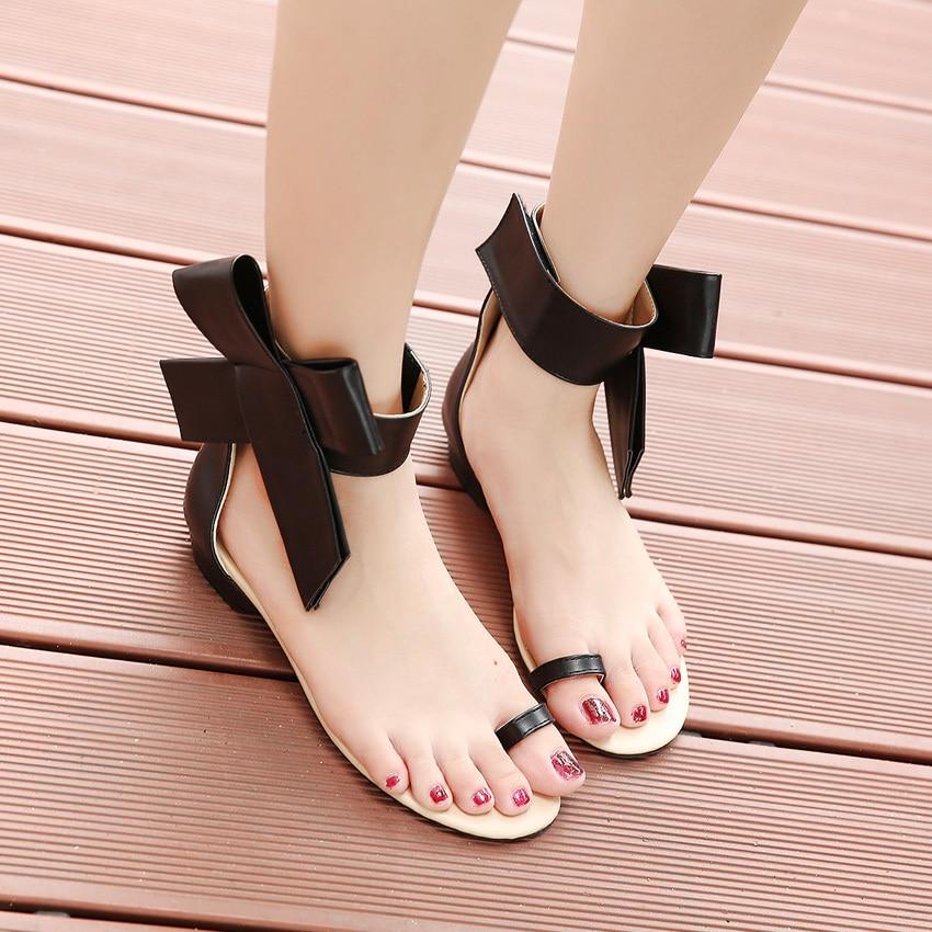 d32c6e794e70 Big Size 40 New 2016 Women Ultralarge Side Flower Bow Flat Heel