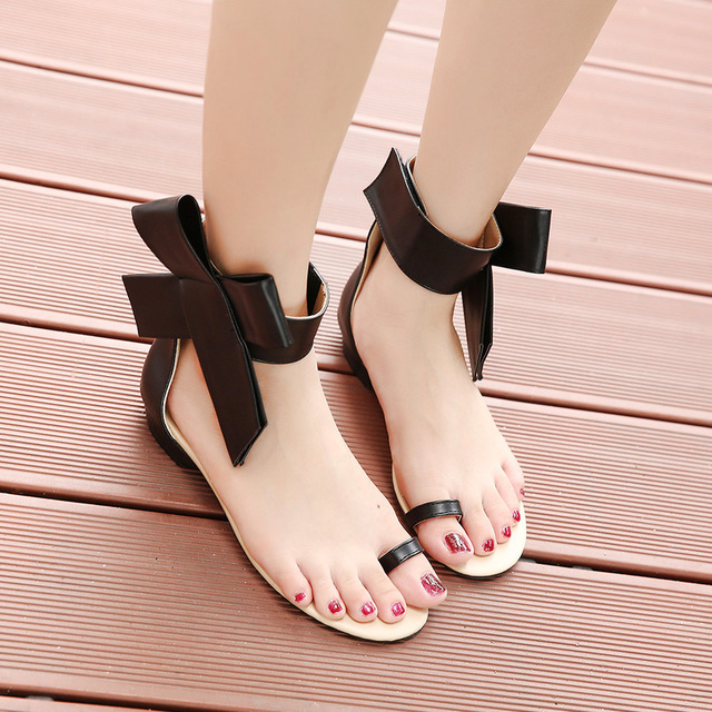 Women'S Sandals Bowknot And Flat Heel Flip Flop