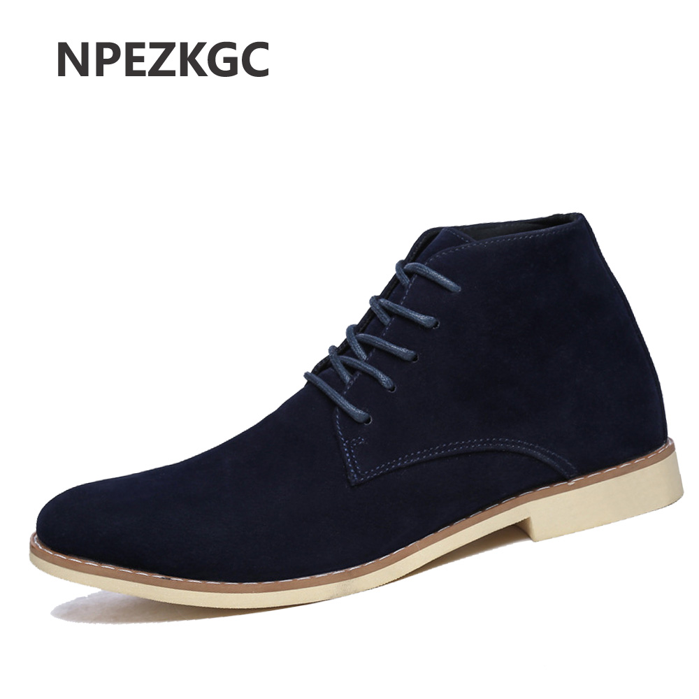 NPEZKGC 2018 New Mens Winter Shoes Fashion Men Pig Suede Boots Pointed Toe Casual Men Shoes Winter Men Boots Cheap Male Boots plush casual suede shoes boots mens flat with winter comfortable warm men travel shoes patchwork male zapatos hombre sg083