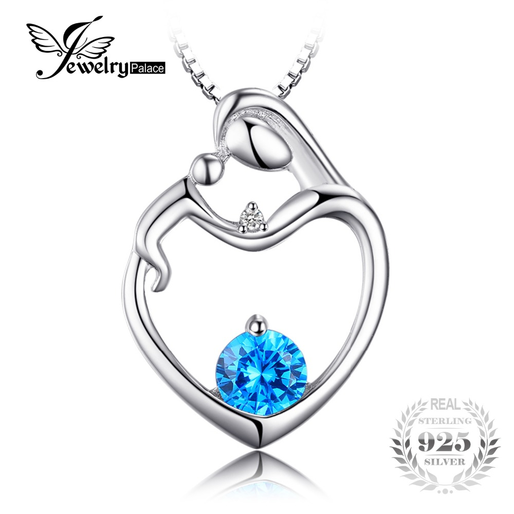 Jewelrypalace heart natural blue topaz diamond pendant for Fine jewelry diamond pendants