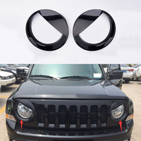 ABS Black Head Light Lamp Cover Trim For Jeep Patriot 2011 2012 2013 2014 2015