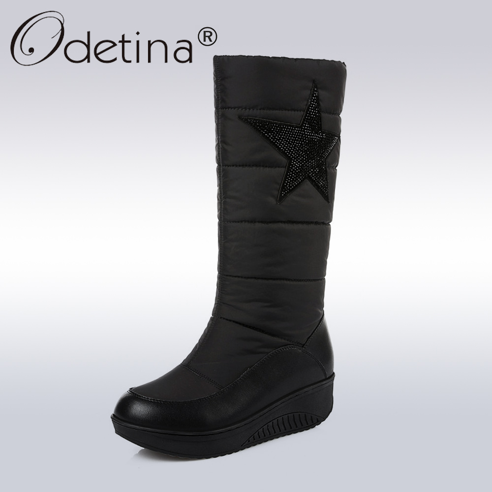 Odetina Winter Genuine Leather Snow Boots Women Warm Down Mid-Calf Boots Ladies Fashion Star Platform Shoes Short Boots Black double buckle cross straps mid calf boots