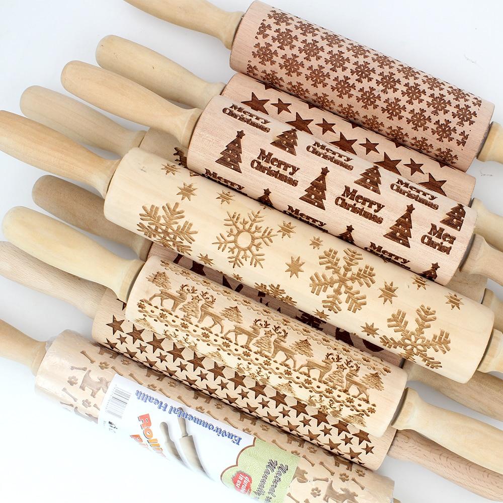43 cm Weihnachten Präge Rolling Pin Gravierte Holz Geschnitzt Geprägte Rolling Pin Schneeflocke Rentier backen