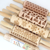 Christmas Embossing Rolling Pin Engraved Carved Wood