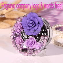 Engrave letters logo free,rose flower bowknot,wedding party bridesmaid christmas gift,Beauty pocket mirror,makeup compact mirror