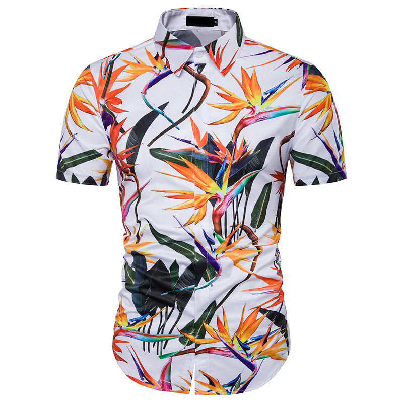 Hawaii 3D printing design American and European mens short-sleeved shirts Casual comfortable lapel summer shirt