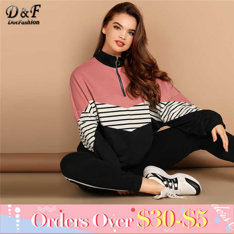 Dotfashion Plus Size Striped Batwing Sleeve Sweatshirt Women Casual Clothes  2019 Autumn Tops Womens Plus Size a974527d8