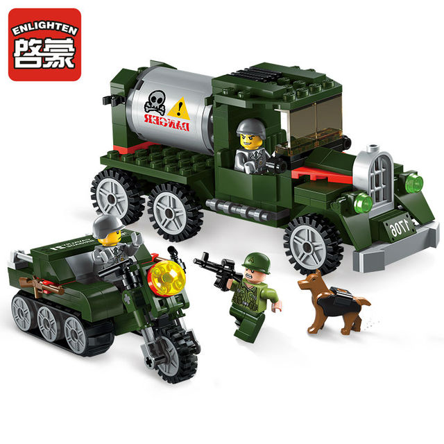 ENLIGHTEN City Military Intercept the transport team Tanker Building Blocks Sets Bricks Model Kids Toys Compatible Legoings