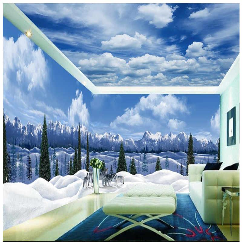 beibehang Custom Room Wallpaper Arctic Glacier Wolves Background Modern Europe Art Mural for Large Painting Home Decor