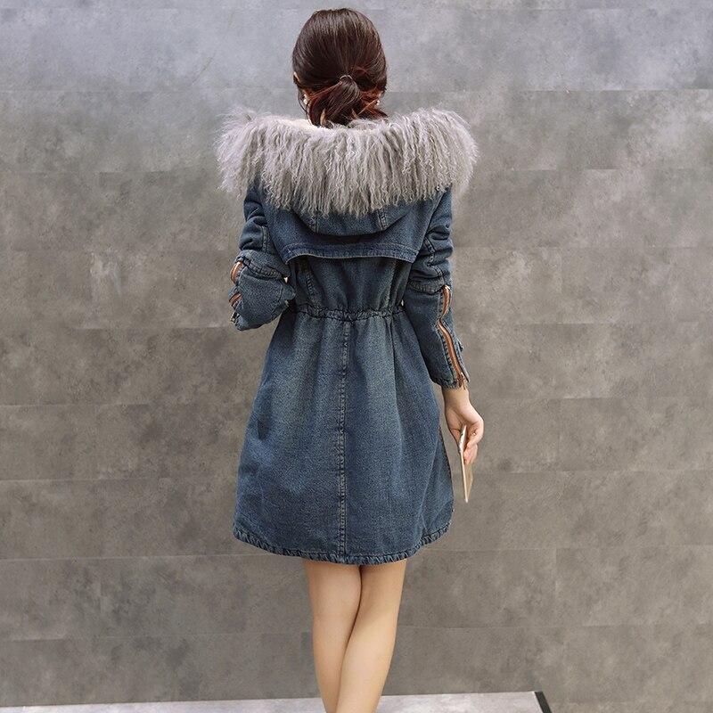 D'agneau Long Épais Veste Jvzkass Femelle Cheveux Hiver Collier Z250 Denim 2018 Laine Coton Blue Manteau Nouvelle De Réel Et nZRq0rwZO
