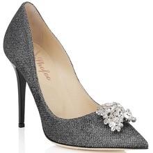 Shofoo Frauen schuhe dunkelgrau & Golden Point Kappe Rinestone Bowties sexy High Heels Pumps Schuhe für Frau, größe 5-14