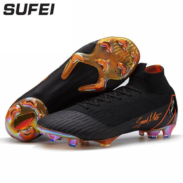 Sufei Futebol Sapatos de Alta Tornozelo Superfly FG Football Botas Longo  Spikes Homens Adultos Crianças Originais 100acf5a9af0c