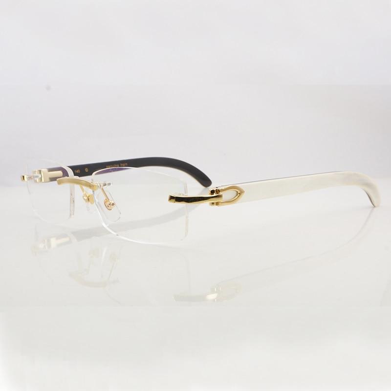 Montures de lunettes claires pour hommes femmes accessoires sans monture corne de buffle naturel Carter or Transparent lunettes cadre