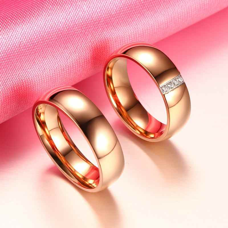 Beiliwol の結婚指輪と男性 AAA ジルコンシンプルなファッションローズゴールド色婚約ジュエリーのカップルリングの恋人のギフト