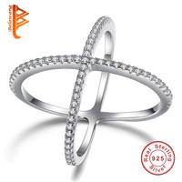 2016 Fashion Double Cross Ring 100 Genuine 925 Sterling Silver Finger Ring Filled White Crystal Stone