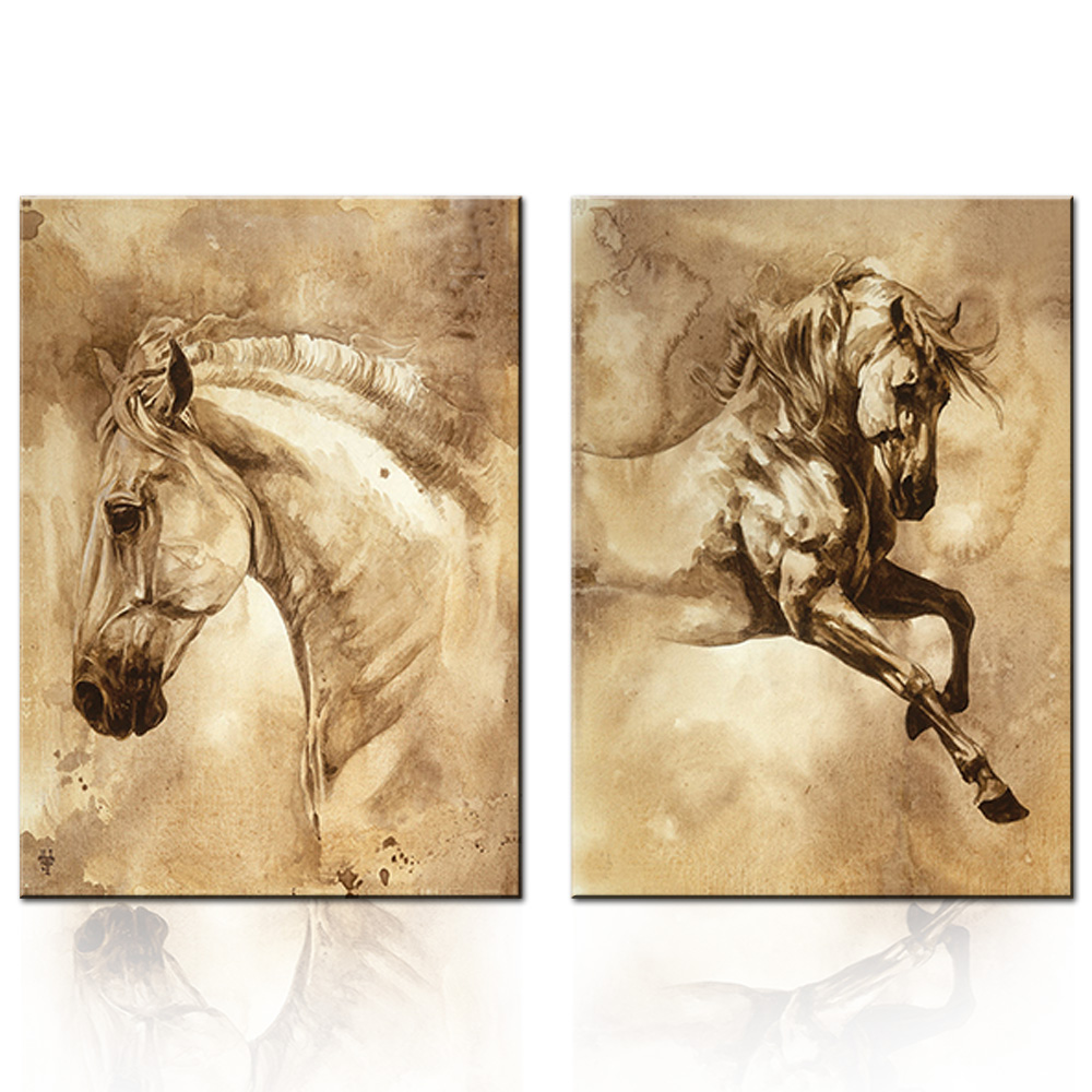 Retro Chinese Traditional Animal Horse Canvas Prints Painting 2 Pcs ...