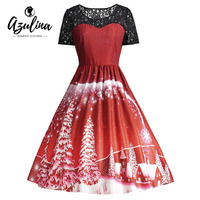 AZULINA Party Dresses Ugly Christmas Lace Panel Dress Women 2017 1950s Style Winter Snow Vintage Robes