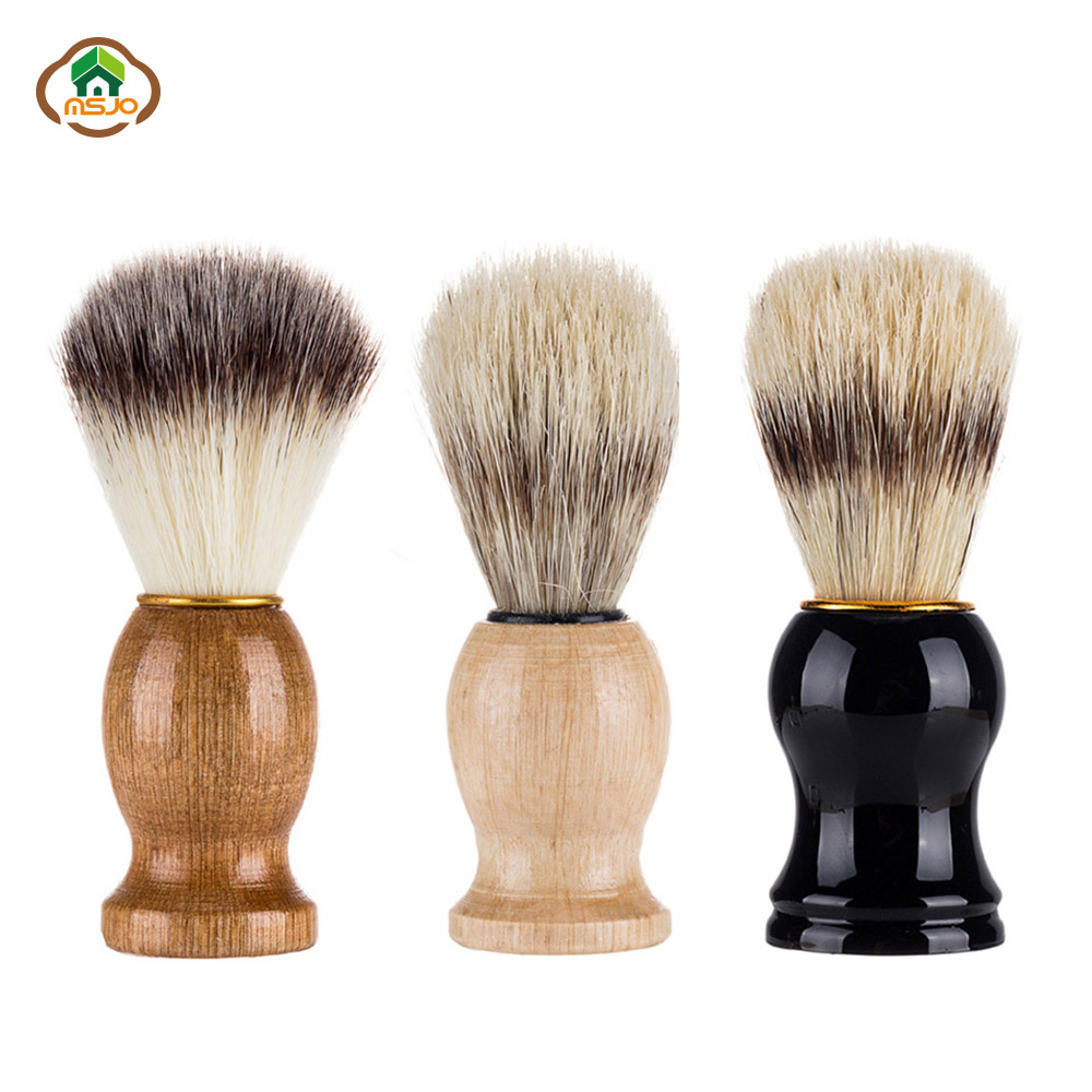 MSJO Beard Brush Shaving Brush 1PC Men Soft Bristles Hairdresser Cleaner Badger Salon Facial Beard Appliance Shaving Clean Tool