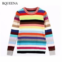 Rqueena New Arrival Cashmere Cotton Women Rainbow Sweaters Fashion Autumn Winter Long Sleeve Knitted Casual Loose Stripe Sweater